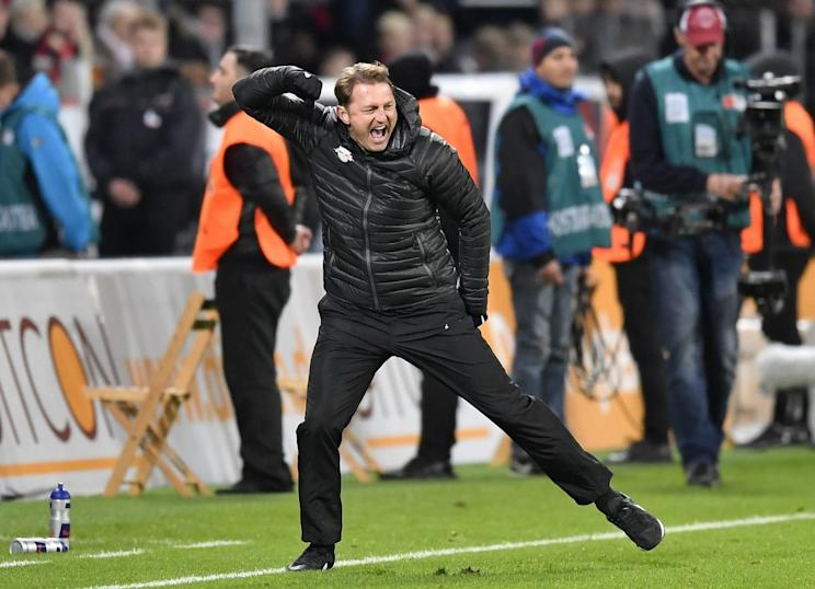 Manager Ralph Hasenhüttl has been a big reason for RB Leipzig's success this season. (Associated Press)