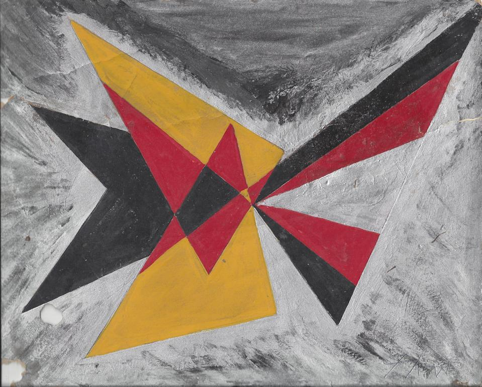Untitled (Abstract Triangles, Red, Yellow, Black and Silver)Courtesy Kenneth M Milton Fine Arts