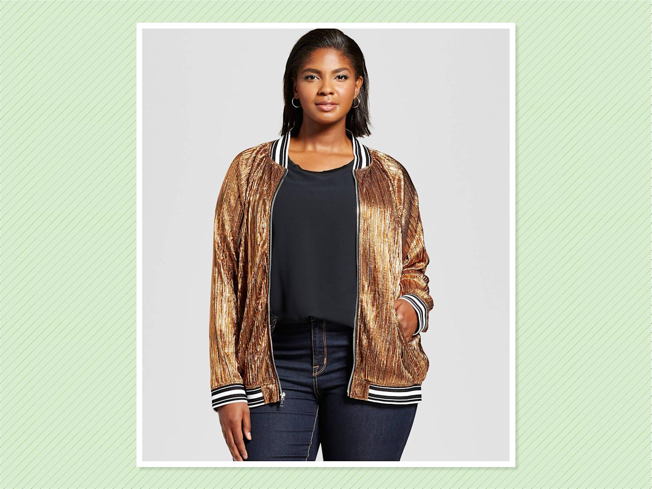"<p>Ava & Viv Pleated Metallic Bomber, $35, <a rel=""nofollow"" href=""https://www.target.com/p/women-s-plus-size-pleated-metallic-bomber-jacket-ava-viv-153/-/A-52377431#lnk=sametab&preselect=52293643"">Target</a> (Photo: Target) </p>"
