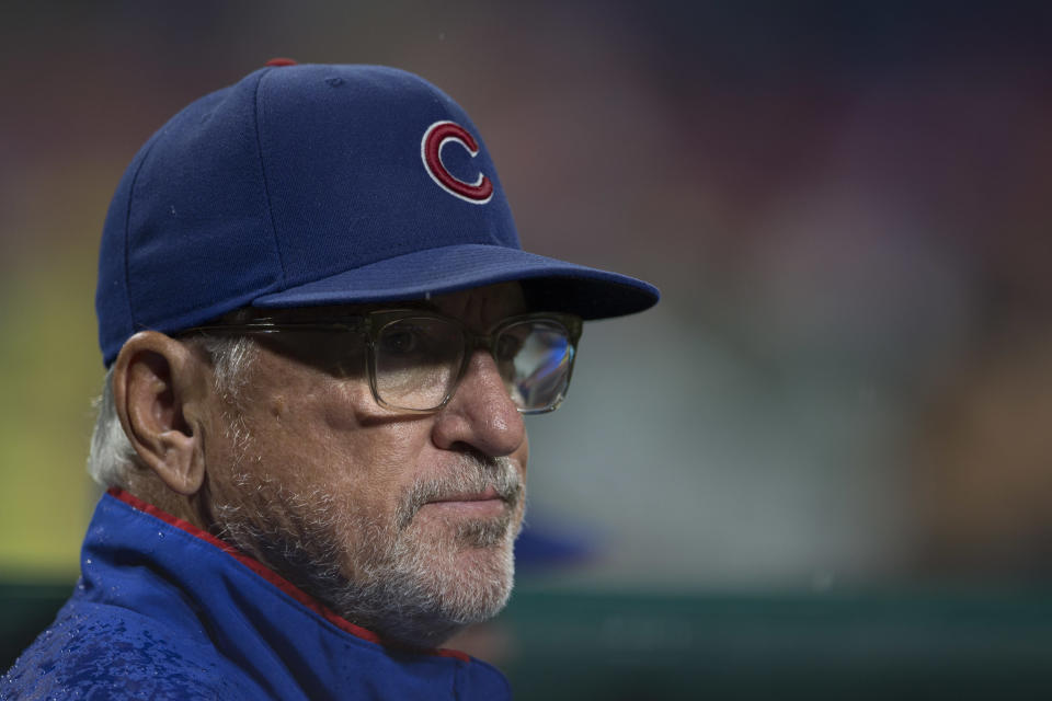 Joe Maddon hasn't read Melisa Reidy's blog post accusing her ex-husband, Addison Russell, of years of mental and physical abuse. (Photo by Mitchell Leff/Getty Images)