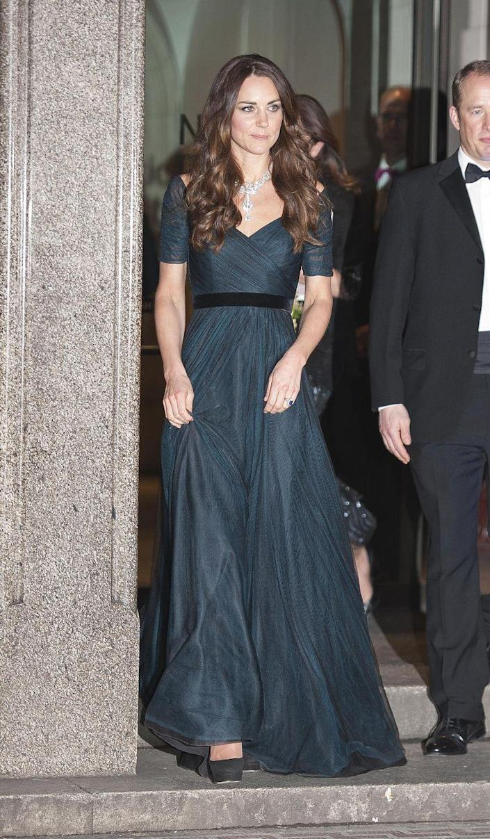 <p>In 2014, Duchess Kate attended the National Portrait Gallery's annual gala in London wearing a dark gown by Jenny Packham with a sparkling necklace that belongs to Queen Elizabeth. </p>