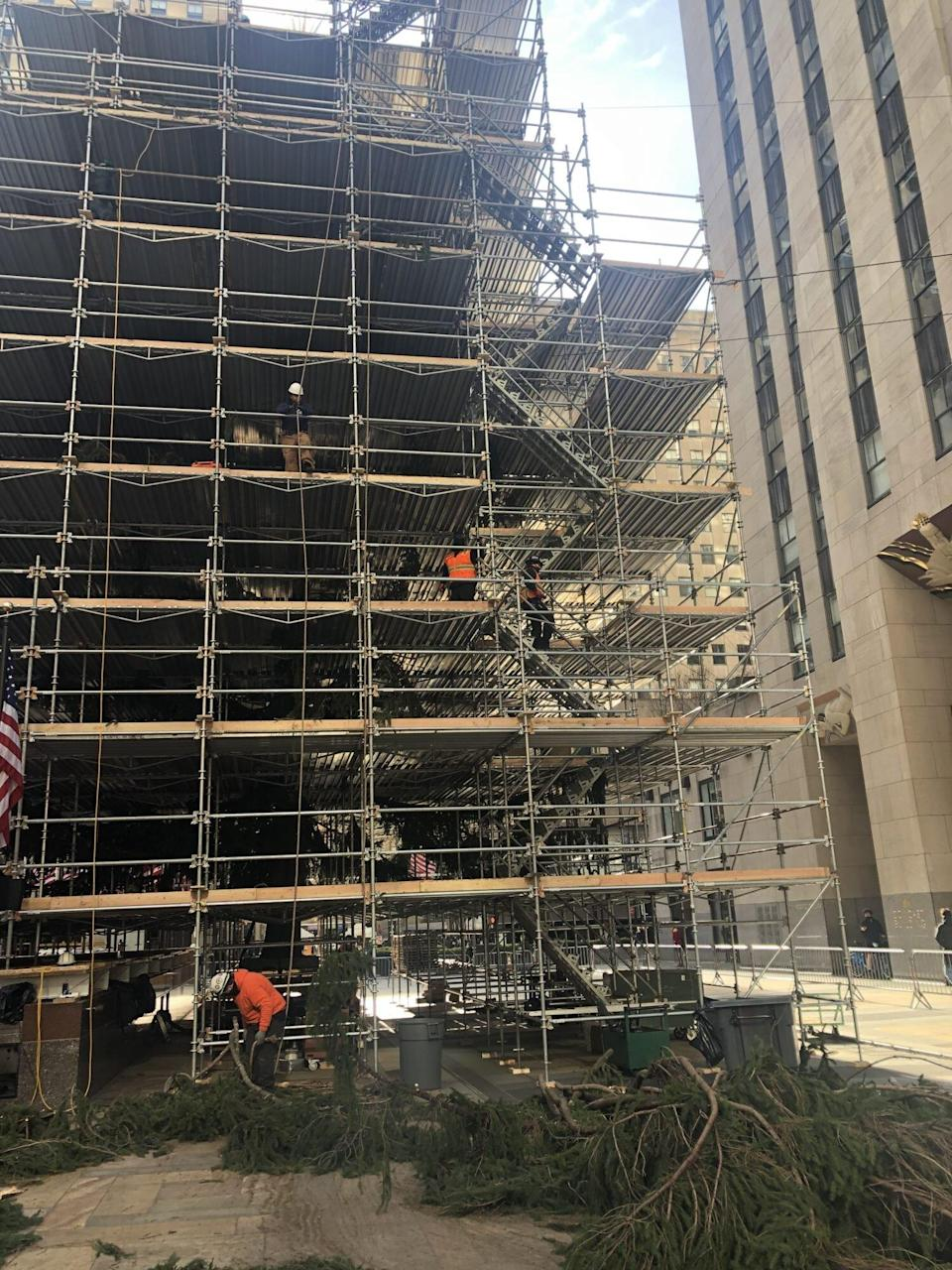 Crews Seen Adding Extra Branches to Rockefeller Center Christmas Tree After It Was Mocked Online