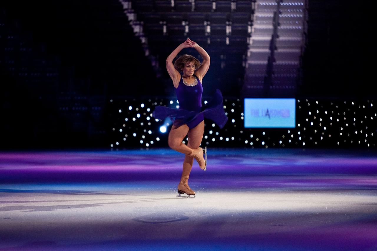 Olympic gold medal ice skater Dorothy Hamill was one of the earliest icons of figure skating and was the first female athlete to sign a $1-million-a-year contract, which was with the Ice Capades. However, her wealth didn't last. She filed for bankruptcy in 1996 and lost her ownership of the Ice Capades company. Despite her financial issues, in 2000 she was inducted to the World Figure Skating Hall of Fame. Photo: Dorothy Hamill rehearses  at the Verizon Center on November 16, 2009 in Washington, DC.