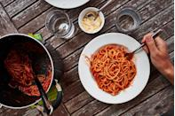"""<p>Our friends may be ordering salads and salmon, but that just won't cut it for us. Especially when training for marathons and ultras, it's going to be <a href=""""https://www.runnersworld.com/uk/nutrition/g772006/the-truth-about-carb-loading-for-runners/"""" rel=""""nofollow noopener"""" target=""""_blank"""" data-ylk=""""slk:pasta, fries, and dinner rolls, please and thank you"""" class=""""link rapid-noclick-resp"""">pasta, fries, and dinner rolls, please and thank you</a>.</p>"""