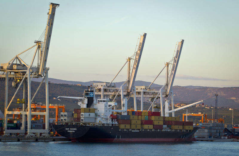 """Cranes and a cargo ship are seen in the port of Koper, Slovenia, Tuesday, Sept. 25, 2012. Once the envy of the former European communist states because of its booming economy and Western-style living standards, Slovenia is becoming a showcase of failed transition, government mismanagement and bad loans. Andrej Plut has always thought he was fortunate to live in Slovenia, at one time the most prosperous of the former republics of Yugoslavia and a star among the eastern European states that joined the EU after the fall of communism. The 55-year-old dentist can't figure out what went wrong with his tiny Alpine state, which now faces one of the worst recessions and financial system collapses among the crisis-stricken 17-country group that uses the euro. """"We used to live so well,"""" Plut said. """"Now, we don't know what tomorrow brings."""" (AP Photo/Darko Bandic)"""