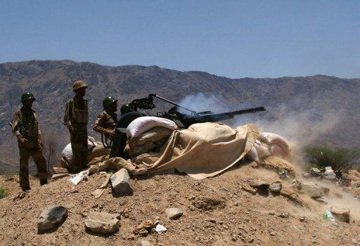 Yemen artillery in action against  Al-Qaeda militants in Abiyan province