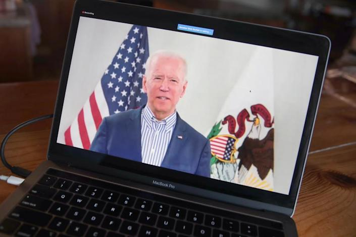 "<span class=""element-image__caption"">Joe Biden holds a virtual campaign event on 13 March.</span> <span class=""element-image__credit"">Photograph: Scott Olson/Getty Images</span>"