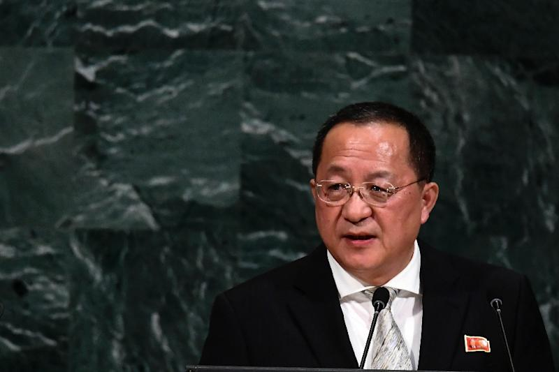 Ri Yong Ho addresses the UN General Assembly last September: he is currently visiting Beijing as part of a diplomatic flurry (AFP Photo/Jewel SAMAD)