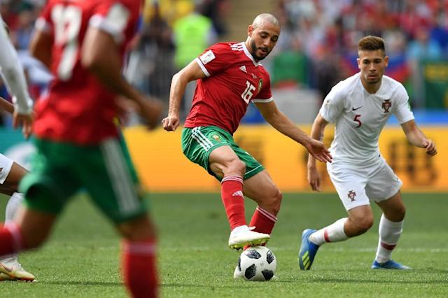 Nordin Amrabat played the entirety of Morocco's match against Spain despite suffering concussion five days before (AFP Photo/Yuri CORTEZ)