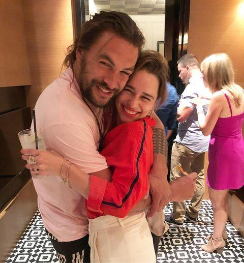 """<p>Clarke celebrated her co-star Momoa - who played her on-screen husband Khal Drogo - <a href=""""https://www.elle.com/uk/life-and-culture/a28537126/emilia-clarke-jason-momoa-game-of-thrones-reunion/"""" rel=""""nofollow noopener"""" target=""""_blank"""" data-ylk=""""slk:on his 40th birthday in July"""" class=""""link rapid-noclick-resp"""">on his 40th birthday in July</a>.</p><p><a href=""""https://www.instagram.com/p/B0cFP5TliDS/"""" rel=""""nofollow noopener"""" target=""""_blank"""" data-ylk=""""slk:See the original post on Instagram"""" class=""""link rapid-noclick-resp"""">See the original post on Instagram</a></p>"""