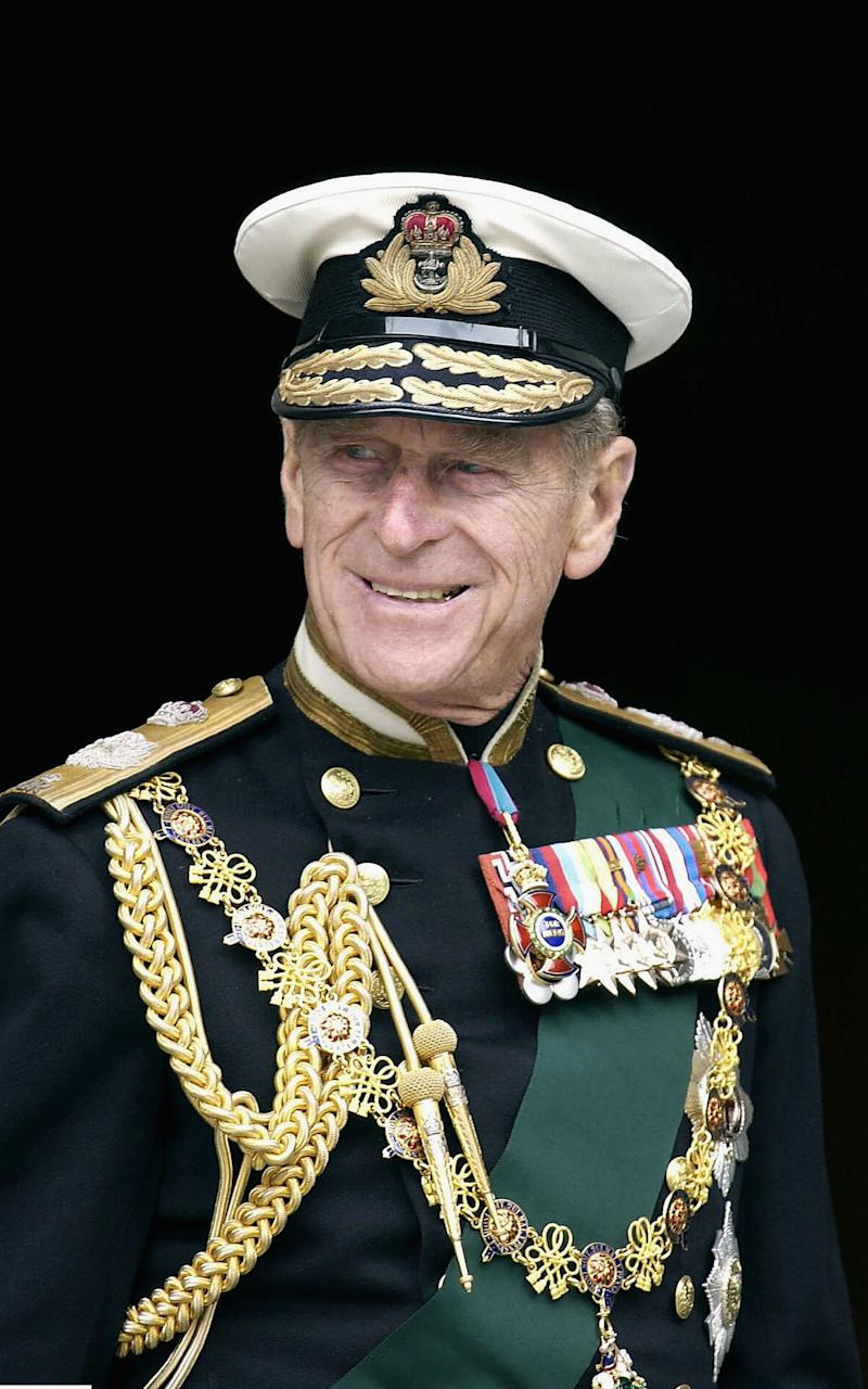 The Duke of Edinburgh leaves the Jubilee Service at St Paul's Cathedral wearing naval uniform in June, 2002  - Credit: Anwar Hussein/Getty Images