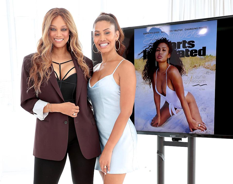 Tyra Banks and Bloom at the Sports Illustrated cover reveal