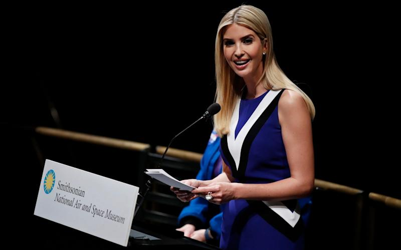 Ivanka Trump speaks at the Smithsonian's National Air and Space Museum in Washington - AP