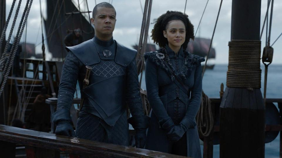 <p><strong>For Missandei:</strong> A long black jacket with black pants and high-knee boots are the essentials for this costume. Don't forget that you can also wear her iconic blue crisscross dress, but that might be a little harder to find.</p> <p><strong>For Grey Worm:</strong> A head-to-toe gray outfit is the direction you want to go in when you dress up as Grey Worm. Make sure to have on some tough armor along with gloves and a sword. Oh, also don't forget a devilishly sexy fighting face.</p>