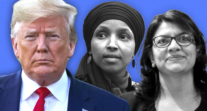 President Trump, Rep Ilhan Omar, D-Minn., and Rep. Rashida Tlaib, D-Mich. (Photo illustration: Yahoo News; photos: AP)
