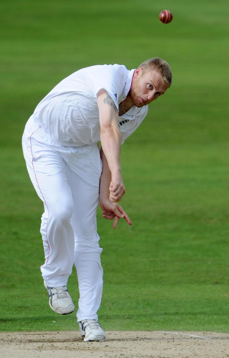England's Andrew Flintoff bowls on July 18, 2008