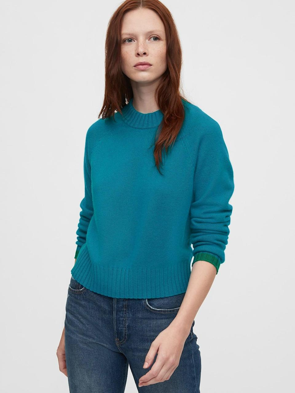 <p>We love the color and the feel of this classic <span>Gap Cashmere Crewneck Sweater</span> ($128).</p>