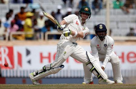 Cricket - India v Australia - Third Test cricket match - Jharkhand State Cricket Association Stadium, Ranchi, India - 17/03/17 - Australia's Steven Smith plays a shot. REUTERS/Adnan Abidi