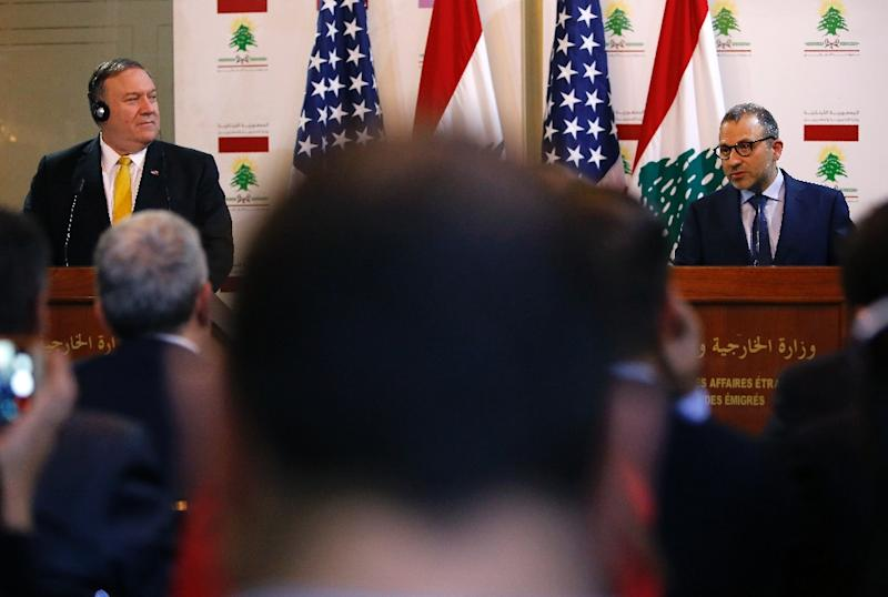 Lebanese Foreign Minister Gibran Bassil (R) gives a joint-statement with visiting US Secretary of State Mike Pompeo in the Lebanese capital Beirut on March 22, 2019 (AFP Photo/Marwan TAHTAH)