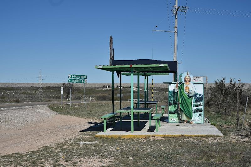 An altar and chapel at a shelter on a desolate road close to the US/Mexico border in Ciudad Acuna