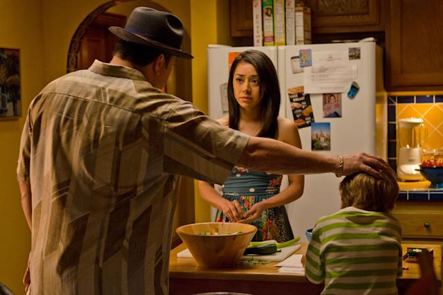 "David Zayas as Angel Batista, Aimee Garcia as Jamie Batista, and Jadon Wells as Harrison in the ""Dexter"" Season 8 episode, ""Are We There Yet?"""