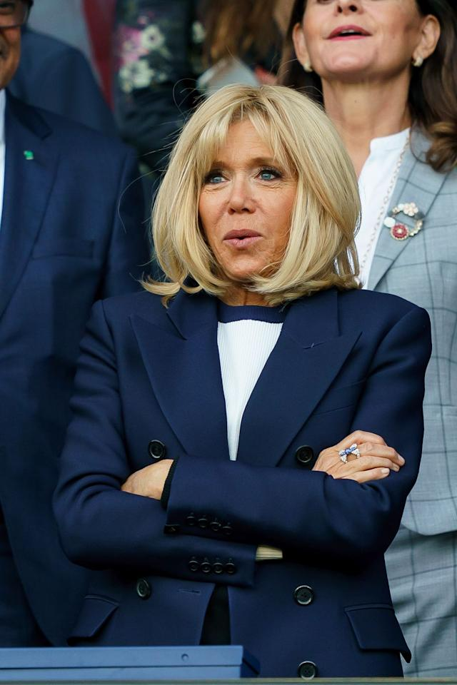 <p>It was a blue blazer and a navy and white knit set for a day of sports spectatorship at the 2019 FIFA Women's World Cup between France and Korea. </p>