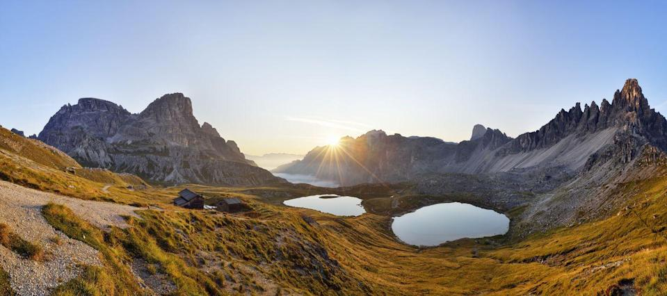 <p>Daybreak over the Dolomites, with the sun glinting off the Bödenseen lakes shows off why this is one of the UNESCO World Heritage Sites. </p>