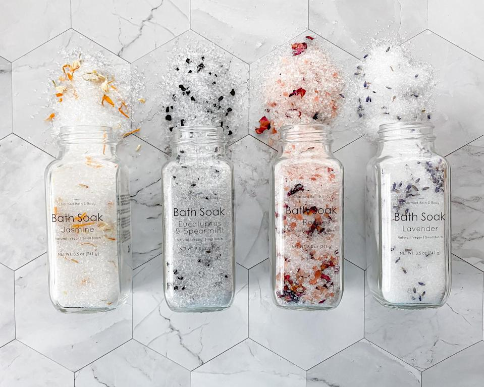 "<h2>Handmade Vegan Bath Salts </h2><br>We're all looking for a little peace and a lot of comforts, and that's where this black-owned brand comes in. Indulge in a steaming hot bath brimming with relaxing scents with these luxe bath salts. <br><em><br>Shop </em><a href=""https://www.etsy.com/shop/CharmedBathBody"" rel=""nofollow noopener"" target=""_blank"" data-ylk=""slk:Charmed Bath Body"" class=""link rapid-noclick-resp""><em><strong>Charmed Bath Body</strong></em></a><br><br><strong>CharmedBathBody</strong> Handmade Vegan Bath Salts, $, available at <a href=""https://go.skimresources.com/?id=30283X879131&url=https%3A%2F%2Ffave.co%2F2UZwBck"" rel=""nofollow noopener"" target=""_blank"" data-ylk=""slk:Etsy"" class=""link rapid-noclick-resp"">Etsy</a>"