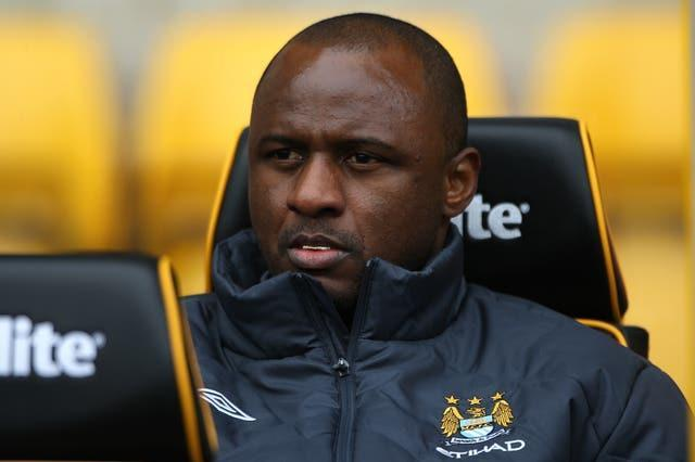 Patrick Vieira in his role as a coach at Manchester City