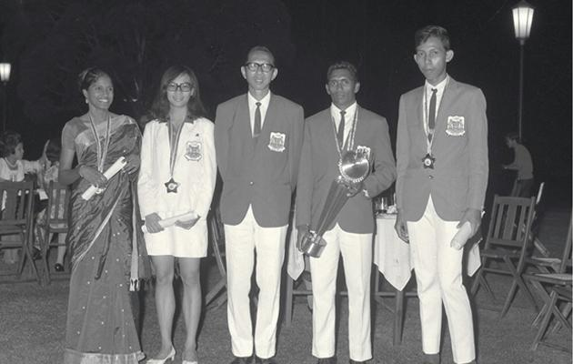 C Kunalan (second from right) was named Sportsman of the Year in 1969 (with Glory Barnabas, Gan Bee Wah, Tan Eng Yoon, CK, Noor Azhar Abdul Hamid)