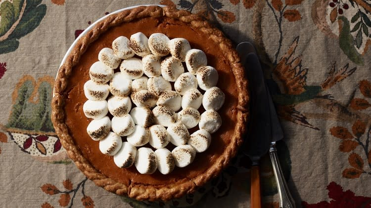 "<p>Finish this <a href=""https://www.marthastewart.com/274980/25-perfect-pies"" rel=""nofollow noopener"" target=""_blank"" data-ylk=""slk:classic fall pie"" class=""link rapid-noclick-resp"">classic fall pie</a> by topping the sweet potato filling with large marshmallows, which are arranged in concentric circles and torched until caramelized. The sweet topping is a delicious contrast to the subtly spiced custard. <a href=""https://www.marthastewart.com/1533270/sweet-potato-custard-pie"" rel=""nofollow noopener"" target=""_blank"" data-ylk=""slk:View recipe"" class=""link rapid-noclick-resp""> View recipe </a></p>"