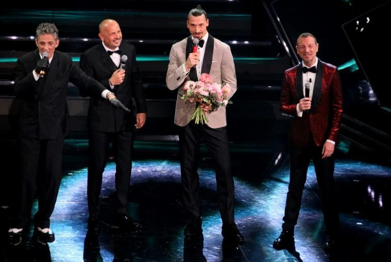 AC Milan star Zlatan Ibrahimovic (2nd from right) and Bologna coach Sinisa Mihajlovic (2nd from left) team up for a duet at the Sanremo 2021 music festival