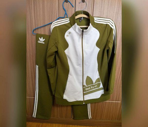 PHOTO: A counterfeit Adidas tracksuit purchased in Pyongyang, North Korea. (Courtesy Alek Sigley)