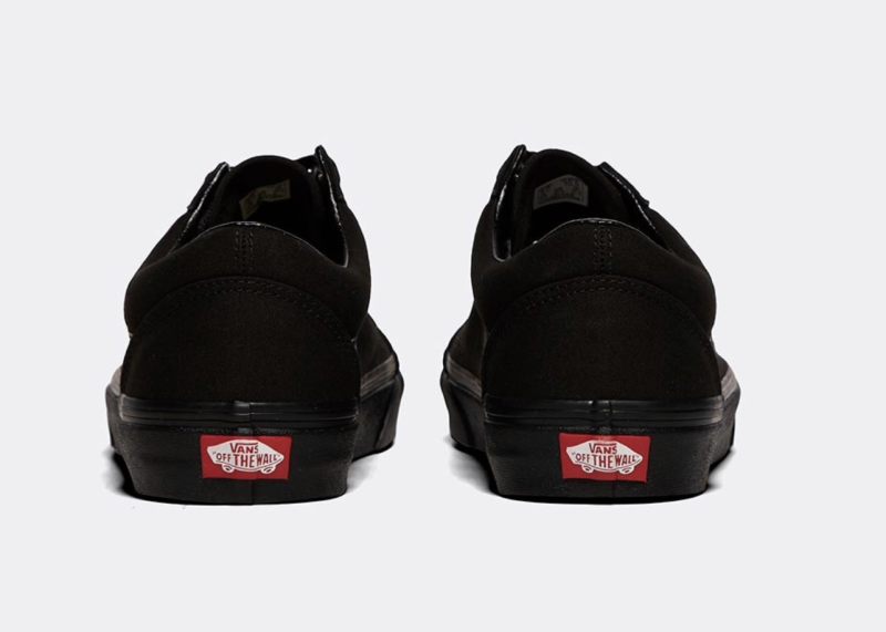 Hickin's black Old Skool Vans have a red logo on each heel. [Photo: SWNS]