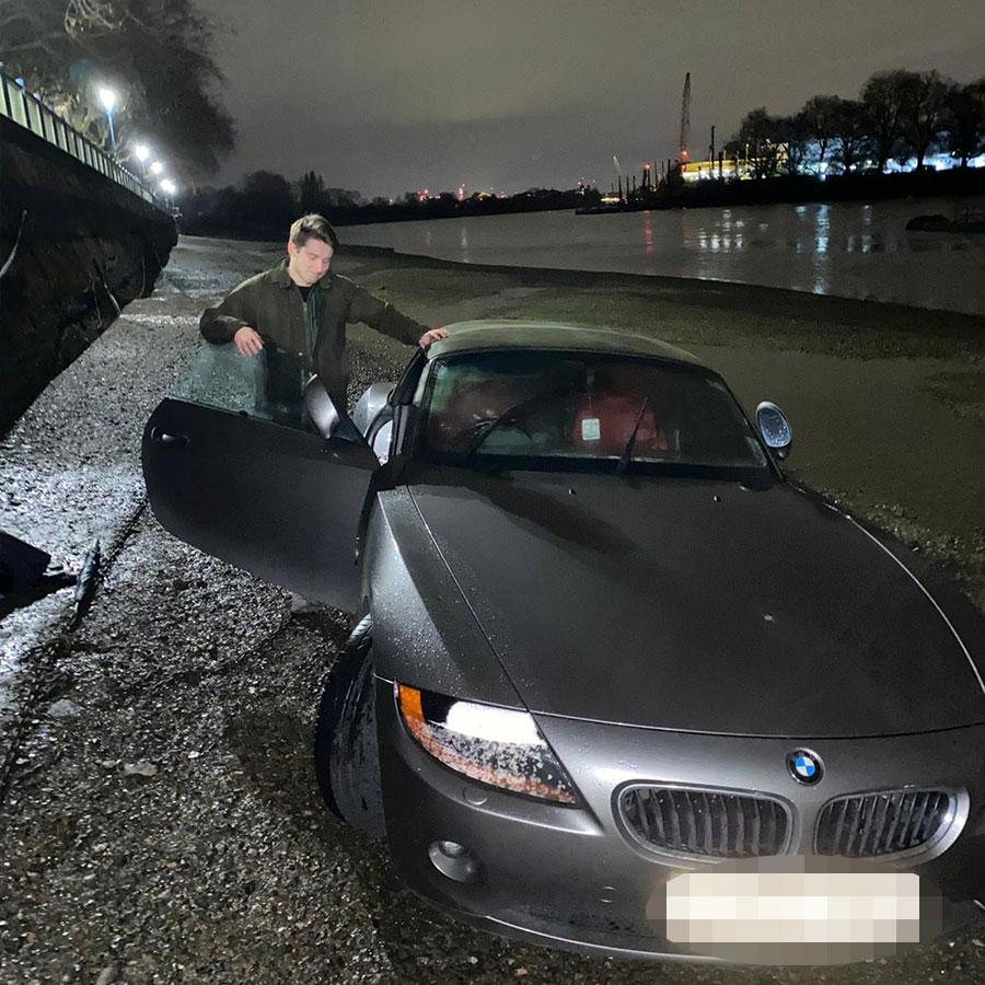The business manager was able to recover the BMW later that day - but says his beloved car is a 'total write-off. (SWNS)