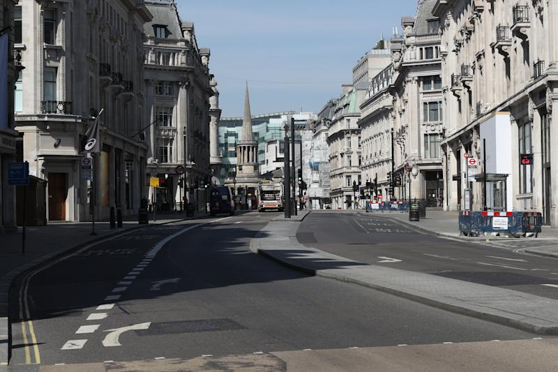 A view along Regent Street, London, looking from Oxford Circus towards New Broadcasting House and All Souls church Langham Place, as the UK continues in lockdown to help curb the spread of the coronavirus.