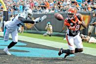 <p>Cincinnati Bengals wide receiver A.J. Green (18) lays out for the catch but cant hold onto the ball when he hits the ground during the NFL game between the Cincinnati Bengals and the Carolina Panthers on September 23 2018, at Bank of America Stadium in Charlotte,NC. (Photo by Dannie Walls/Icon Sportswire via Getty Images) </p>