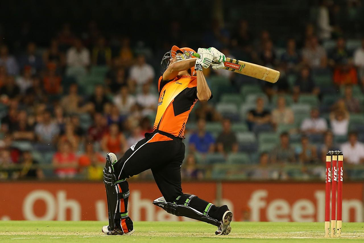 PERTH, AUSTRALIA - DECEMBER 09:  Nathan Coulter-Nile of the Scorchers bats during the Big Bash League match between the Perth Scorchers and Adelaide Strikers at WACA on December 9, 2012 in Perth, Australia.  (Photo by Paul Kane/Getty Images)