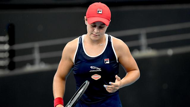 Ashleigh Barty's first singles match of 2020 ended in a surprise loss to Jennifer Brady on Thursday.
