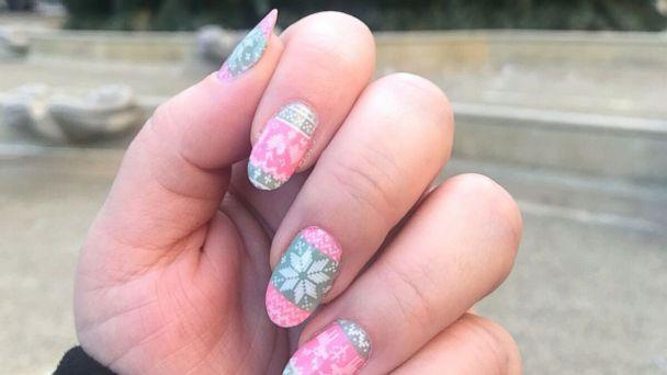 PHOTO: Bobbie Gossage of New York uses an ugly Christmas sweater nail stamping plate called MoYou London 'Festive 32' to achieve the look of ugly Christmas sweater nail (Bobbie Gossage/Instgram)