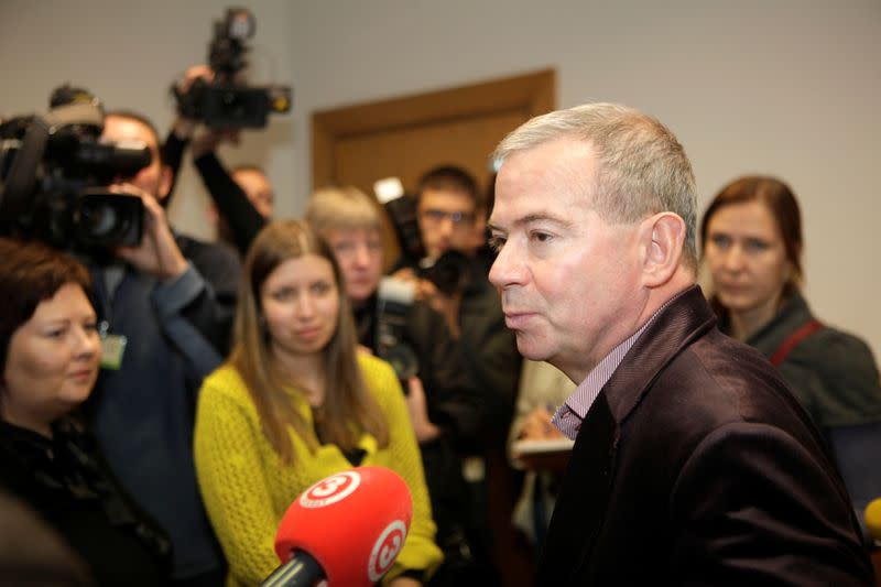 FILE PHOTO: Prime Minister candidate Lembergs of Greens and Farmers union speaks to media in Riga