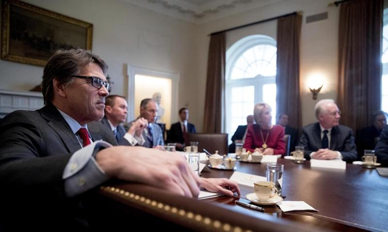 Rick Perry in a cabinet meeting at the White House in Washington on 13 March 2017.