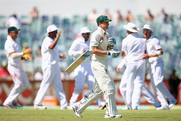 PERTH, AUSTRALIA - DECEMBER 03:  Australian captain Michael Clarke walks off the pitch after being stumped by AB de Villiers of South Africa during day four of the Third Test Match between Australia and South Africa at WACA on December 3, 2012 in Perth, Australia.  (Photo by Cameron Spencer/Getty Images)