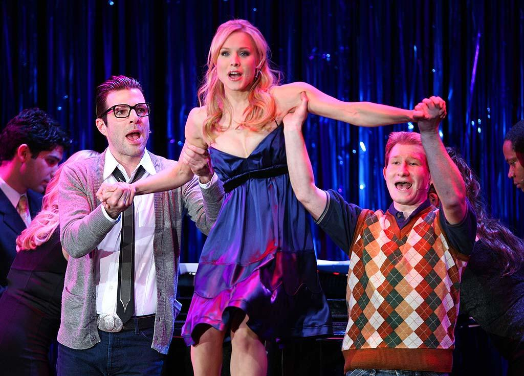 """Kristen Bell and her """"Heroes"""" co-star, Zachary Quinto (left), performed a number from """"Bye Bye Birdie"""" together at the event, which was directed by """"Seinfeld's"""" Jason Alexander. John Shearer/<a href=""""http://www.wireimage.com"""" target=""""new"""">WireImage.com</a> - March 5, 2008"""