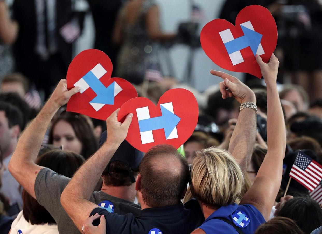 Hillary Clinton supporters at a primary night rally in New York on Tuesday. (Photo: Julie Jacobson/AP)
