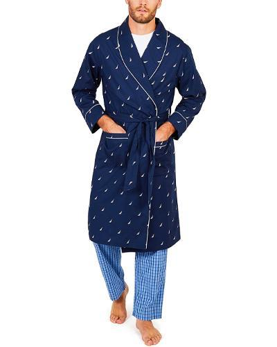 best father's gifts - Nautica Men's Long Sleeve Lightweight Shawl Collar Woven Robe