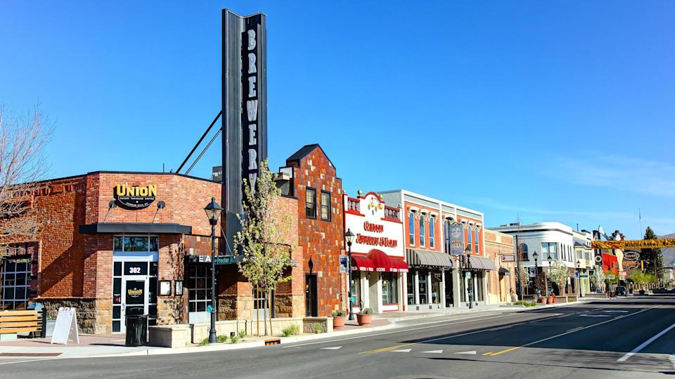 Carson City, Nevada, USA - April 24, 2019: Daytime view of breweries and stores along N Carson Street in the Historic District.