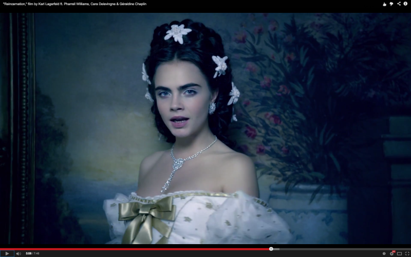 Cara Delevingne in 'Reincarnation' by Karl Lagerfeld for Chanel