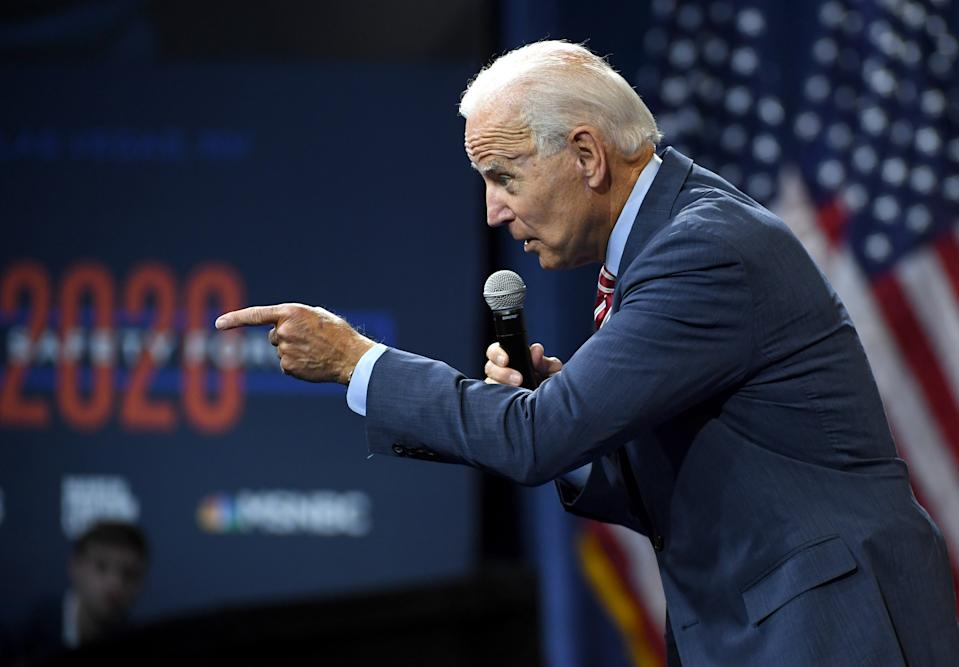 LAS VEGAS, NEVADA - OCTOBER 02:  Democratic presidential candidate, former U.S Vice President Joe Biden speaks during the 2020 Gun Safety Forum hosted by gun control activist groups Giffords and March for Our Lives at Enclave on October 2, 2019 in Las Vegas, Nevada. Nine Democratic candidates are taking part in the forum to address gun violence one day after the second anniversary of the massacre at the Route 91 Harvest country music festival in Las Vegas when a gunman killed 58 people in the deadliest mass shooting in recent U.S. history.  (Photo by Ethan Miller/Getty Images)