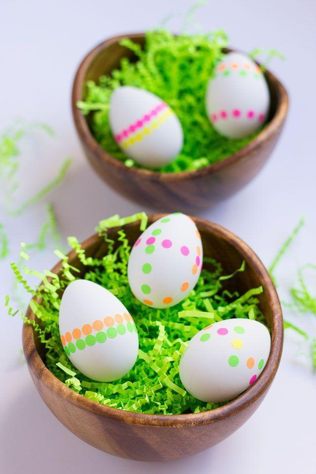 """<p>Got a dozen eggs and a few neon dot stickers? You're in business!</p><p><strong>Get the tutorial at <a href=""""https://designimprovised.com/2015/03/easter-egg-ideas_13.html"""" rel=""""nofollow noopener"""" target=""""_blank"""" data-ylk=""""slk:Design Improvised"""" class=""""link rapid-noclick-resp"""">Design Improvised</a>.</strong></p><p><strong><a class=""""link rapid-noclick-resp"""" href=""""https://www.amazon.com/Map-Dot-Stickers-Assorted-Diameter/dp/B003M6PFS6?tag=syn-yahoo-20&ascsubtag=%5Bartid%7C10050.g.1111%5Bsrc%7Cyahoo-us"""" rel=""""nofollow noopener"""" target=""""_blank"""" data-ylk=""""slk:SHOP STICKERS"""">SHOP STICKERS</a><br></strong></p>"""